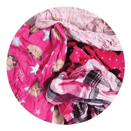 Coloured Flannelette Rags Close Up